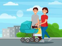 Young happy family walking by park after shopping. Mother pushing carriage with baby, father carrying packages. City. Buildings on background. Cartoon people Stock Image