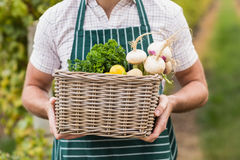 Young happy farmer holding a basket of vegetables Stock Photo