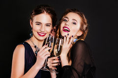 Young happy fashion women celebrating the event. Stock Photography