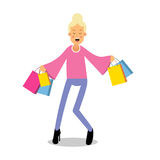 Young happy fashionable blond girl standing with purchases cartoon character vector Illustration Royalty Free Stock Images