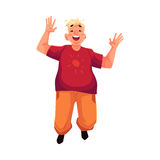 Young, happy fat man in casual clothing jumping happily Stock Photos