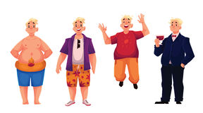Young, happy fat man in shorts, casual clothing and suit Stock Photos