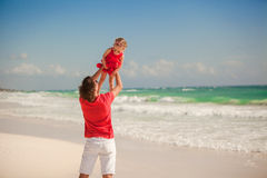 Young happy father and little daughter having fun Stock Images