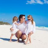 Young happy father and little daughters having fun Royalty Free Stock Images