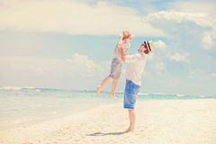 Young happy father playing with his little son Royalty Free Stock Photo