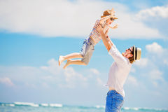 Young happy father playing with his little son Stock Images