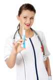 Young happy female doctor or nurse Stock Image