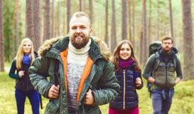 Young happy friends walking in forest and enjoying a good autumn Royalty Free Stock Photo