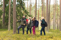 Young Happy Friends Walking In Forest And Enjoying A Good Autumn Day. Royalty Free Stock Photos