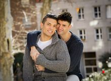 Young happy gay men couple free homosexual love concept on street Royalty Free Stock Image