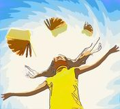 Young happy girl. Over abstract background and flying books around her (looks like pencil drawing stock illustration