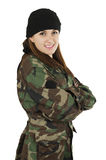 Young happy girl dressed in green camouflage Royalty Free Stock Photography