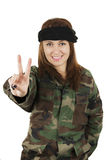 Young happy girl dressed in green camouflage Stock Photo