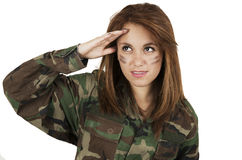 Young happy girl dressed in green camouflage Royalty Free Stock Image