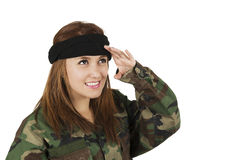 Young happy girl dressed in green camouflage Royalty Free Stock Photos