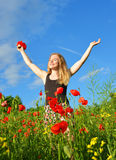 Young happy girl in field Royalty Free Stock Photos