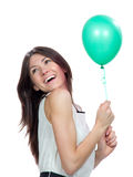 Young happy girl with green balloon Stock Photos