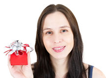 Young happy girl with little red gift box Stock Images