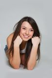 Young happy girl with long hair Stock Photo