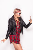Young happy girl with mobile phone. Stock Image