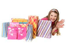 Young happy girl with shopping bags Stock Photo
