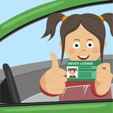 Young happy girl showing her new driver license sitting in the car and giving thumbs up vector illustration