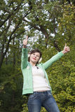 Young happy girl showing ok sign Royalty Free Stock Image