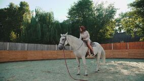 Young happy girl sits on a pretty white horse on the area. 4K stock video