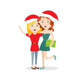 Young happy girls with Christmas gift flat characters Stock Images
