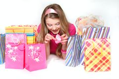 Young Happy Gril With Shopping Bags And Gift