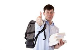Young happy, handsome student express success Stock Photo