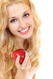 Young happy healthy woman with fresh ripe red apple Royalty Free Stock Images