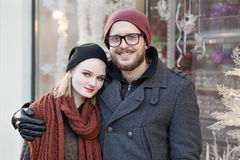 Young happy hipster couple. Hugging in winter Stock Photography