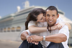 Young Happy Hispanic Couple In Front of Cruise Ship Stock Images