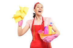 Young happy housewife cleaning Stock Image