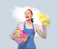 Young happy housewife cleaning Stock Photos