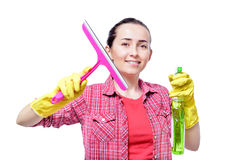 Young happy housewife cleaning Stock Images