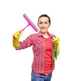 Young happy housewife cleaning Royalty Free Stock Images