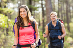 Young happy joggers hiking with trekking poles Royalty Free Stock Photos