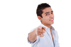 Young and happy latin man pointing Stock Images
