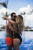 Young happy lovers on romantic travel honeymoon having fun on vacation summer holidays romance. Royalty Free Stock Photos