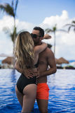 Young happy lovers on romantic travel honeymoon having fun on vacation summer holidays romance. Stock Photography