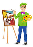 Young happy male painter artist painting Royalty Free Stock Images