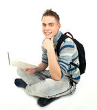 Young happy male student with backpack Stock Photos