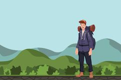 A young man, backpacker in a hilly area. Hiker, Explorer. Vector Illustration with copy space. A young happy man, backpacker in a hilly area. Hiker, Explorer Royalty Free Stock Images