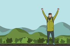A young man, backpacker with raised hands in a hilly area. Hiker, Explorer. A symbol of success. Vector Illustration. A young happy man, backpacker with raised Royalty Free Stock Photography