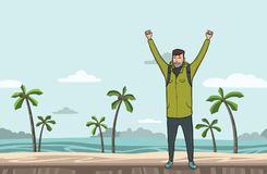 A young man, backpacker with raised hands on the sea beach. Hiker, Explorer. A symbol of success. Vector Illustration Royalty Free Stock Photo