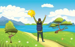 A young happy man, backpacker with raised hands on the seaside. Hiker, Explorer. A symbol of success. Vector royalty free illustration