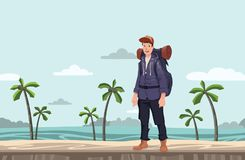 A young man, backpacker on the sea beach. Hiker, Explorer. Vector Illustration with copy space. A young happy man, backpacker on the sea beach. Hiker, Explorer Royalty Free Stock Photos