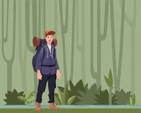 A young man, backpacker in the jungle forest. Hiker, Explorer. Vector Illustration with copy space. A young happy man, backpacker standing in the jungle forest Royalty Free Stock Images